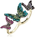 Betsey Johnson Butterfly Butterfly Double Ring, Size 7.5