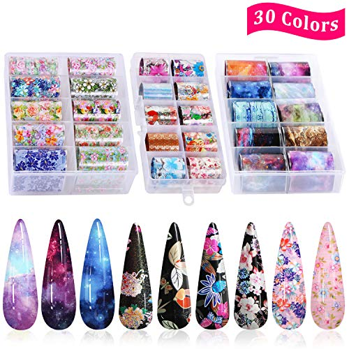30 Color Nail Foil Transfer Sticker, Kissbuty Holographic Flower Nail Art Stickers Tips Wraps Foil Transfer Adhesive Glitters Acrylic DIY Nail Decoration, 3 Boxes (Various Flowers Starry Sky)