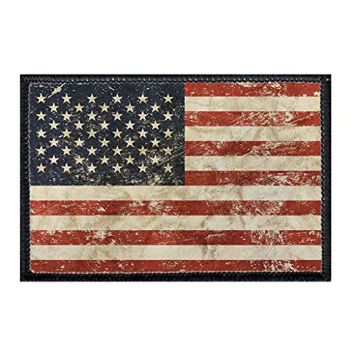 American Flag - Distressed Morale Patch | Hook and Loop Attach for Hats, Jeans, Vest, Coat | 2x3 in | by Pull Patch (Distressed Patch)