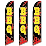 Three (3) Pack Full Sleeve Swooper Flags BBQ Black w Yellow Text & Red Flames by EHT Flags