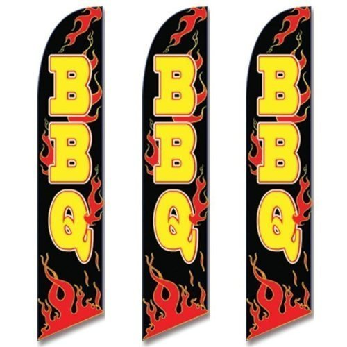 Three (3) Pack Full Sleeve Swooper Flags BBQ Black w Yellow Text & Red Flames by EHT Flags by EHT Flags