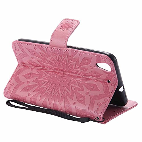 Case Dfly For Design Kickstand Card Pink Embossed Cover With Mandala 5a Y6 Soft Slim Ii Leather Function Protective Huawei Slot Holder Honor Pu 5a Ii Flip honor Wallet Premium PrqPgEw