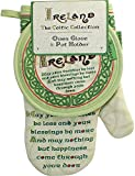 Celtic Collection Oven Glove & Pot Holder With Irish Blessing Design