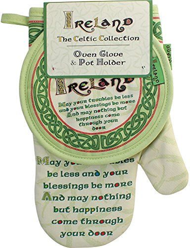 Celtic Collection Oven Glove & Pot Holder With Irish Blessing Design by Carrolls Irish Gifts (Image #1)