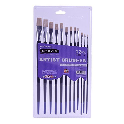 Silver Brush Series (Mont Marte Silver Series Artist Brushes 12pce Flat 1-12)