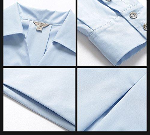 Vestito Nuovi Cotone Mezza Blu La 2018 Allentata Per Primavera Corto Di Luce Cotyledon Solido Di Collo Manica Colore Abiti Bavero Estate Abito rXSErwq