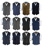 Cavani Mens Tailored Fit Retro Herringbone Tweed Waistcoat Vest Velvet Corduroy Wool