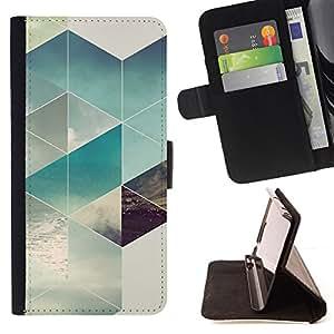 BullDog Case - FOR/Sony Xperia Z1 L39 / - / POLYGON SURF SUMMER SUN PATTERN /- Monedero de cuero de la PU Llevar cubierta de la caja con el ID Credit Card Slots Flip funda de cuer