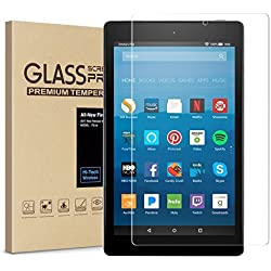 All-New Fire HD 8 Screen Protector,Tempered Glass Screen Protector Film for Amazon Fire HD 8 Tablet with Alexa (7th 2017 Release) [9H Hardness] [Crystal Clear] [Bubble Free]