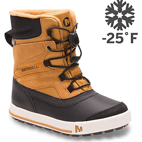 Merrell Snow Bank 2.0 Waterproof Snow Boot , Wheat/Black, 6 M US Big Kid (Kid Boots Boys Big Snow)