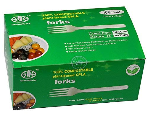 GreenWorks 100% Biodegradable Compostable CPLA Disposable Cutlery Forks,100 Ct 7