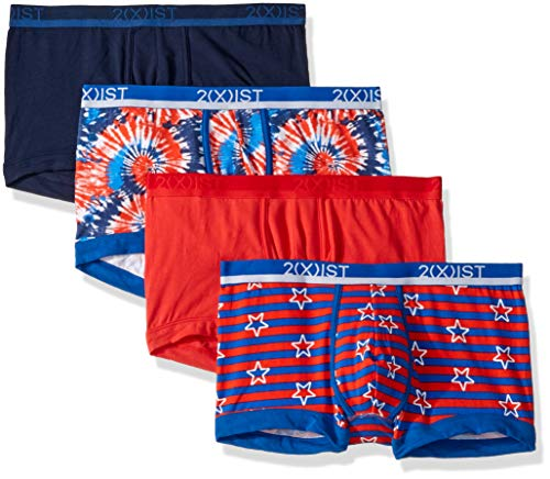 2(x)ist Men's Cotton Stretch No-Show Trunk 3-Pack,Poppy Red/Americana/Varsity Navy/Tie Die Americana,Large ()
