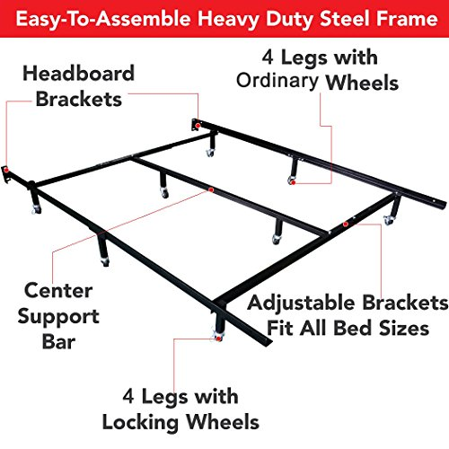 amazoncom smart 8 wheel metal bed frame 3 adjustable sizes queen fullcal king with center support and 4 looking wheels kitchen dining
