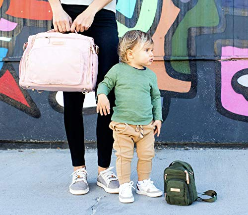 JuJuBe BFF Convertible Unisex Diaper Backpack, Messenger Bag with Memory Foam Changing Pad, Modern Crossbody Diaper Bag for Travel