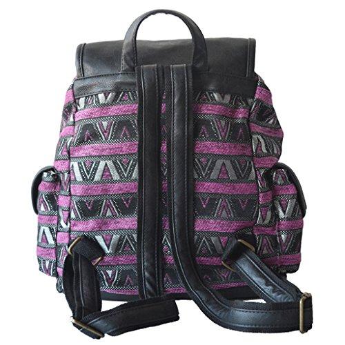 Backpack Vintage Girls Daypack School Foncé Women Striped College Rucksack Bag Canvas Violet HBwaac81q