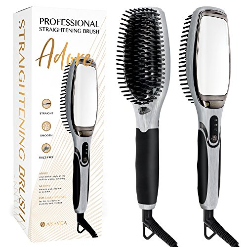 AsaVea Professional Hair Straightening Brush (Black/Grey) by AsaVea