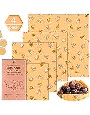 Herbruikbare bijenwasdoeken, waspapier voor levensmiddelen alternatief voor wegwerp plastic verpakkingen, Beeswax Wraps bewaren van kaas, groenten, fruit, brood, 4-delige set (1 x groot + 2 x medium + 1 x klein)