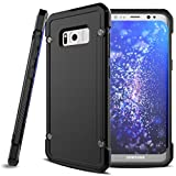 Cricket Samsung Galaxy S8 Case, Shock-proof Hybrid Case Slim Fit Armor Bumper Cover Protective Skin w Drop Protection [Black] for Samsung Galaxy S8