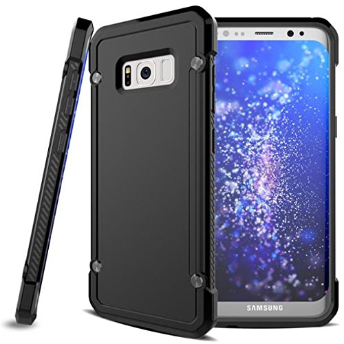 Cricket Samsung Galaxy S8 Case, Shock-proof Hybrid Case Slim Fit Armor Bumper Cover Protective Skin w Drop Protection [Black] for Samsung Galaxy S8 by DNRPrime