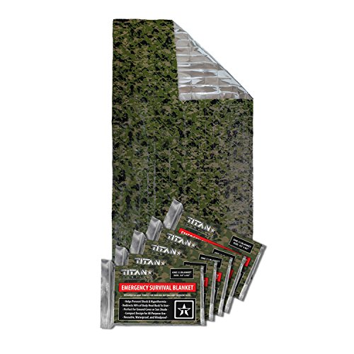 (TITAN Two-Sided Emergency Mylar Survival Blankets, 5-Pack | Forest Camo (27-000003))