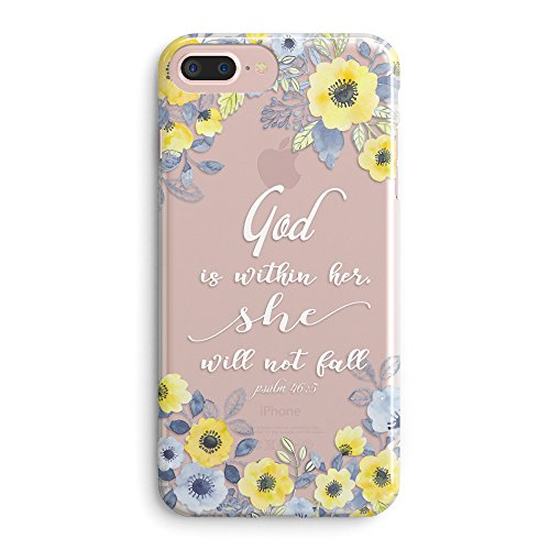 (Compatible iPhone 7 Plus/iPhone 8 Plus Case,Girls Floral Flowers Psalm Bible Verse Cute Christian Women Quotes God is Within Her She Will Not Fall Girls Soft Clear iPhone 7 Plus/iPhone)