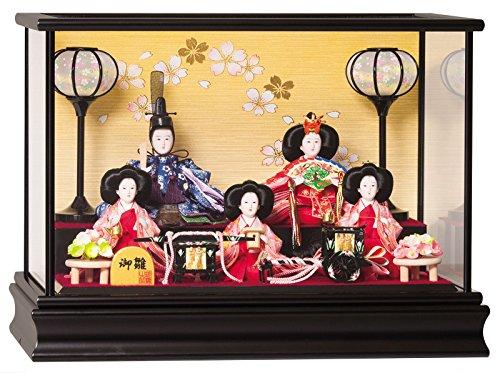 雛人形 平安豊久 ひな人形 雛 ケース飾り 五人飾り 優愛 小豆五人 h313-mo-333485 HD-160   B01N5A0HIC