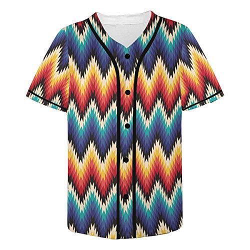 (INTERESTPRINT Men's Tribal Aztec Baseball Jersey Button Down T Shirts 4XL)
