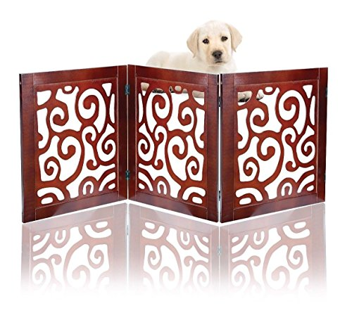 Safety Pet Gate for Dogs – Free-Standing & Foldable - Decorative Scroll Wooden Fence Barrier – Stairs & (Home Doggy Door)