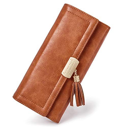 (Women Wallet Soft Oil Wax Leather Designer Trifold Multi Card Organizer Lady Clutch Brown)
