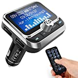 ToHayie Bluetooth FM Transmitter for Car, Transmitter Bluetooth Car Wireless Radio Adapter Hands-Free Car Kit with 1.8 inch Display, Dual USB Car Charger, AUX Input/Output, TF Card Mp3 Player, Silver
