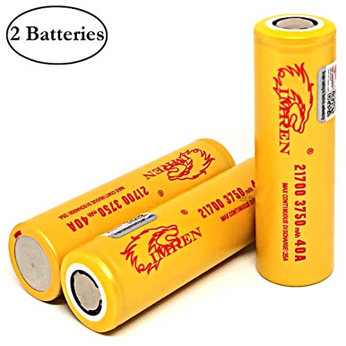High Drain 3750mAh Li-ion 25A / 40A 3.7V Rechargeable Flat Top Battery, (2 Pack with Hard PC Storage Case) by M&A BD Electronics (40a Electronic)