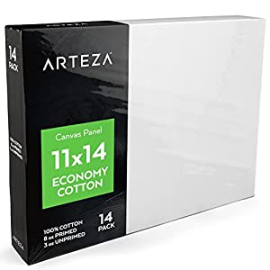 "Arteza 11""x14"" White Blank Canvas Panel Boards, Bulk (Pack of 14), Primed 100% Cotton, for Acrylic Painting, Oil Paint & Wet Art Media, Canvases for Professional Artist, Hobby Painters & Beginners"
