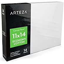"""Arteza 11""""x14"""" White Blank Canvas Panel Boards, Bulk (Pack of 14), Primed 100% Cotton, for Acrylic Painting, Oil Paint & Wet Art Media, Canvases for Professional Artist, Hobby Painters & Beginners"""