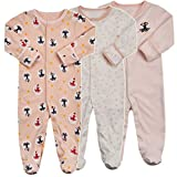Baby Footed Pajamas with Mittens - 3 Packs Baby Girls Footie Onesies Sleeper Newborn Cotton Sleepwear Infant Outfits (6-9 Months, Dance/Pink/Dot)