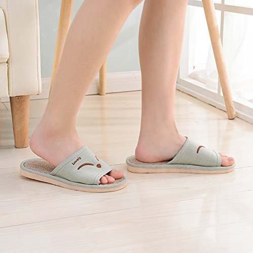 Btrada Womens Open Toe House Slippers Cotton Flax Tatami Slippers Slip Durable Indoor Slippers Green NCUeBUIzU