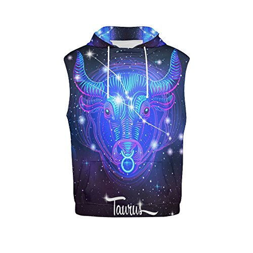 Constellation Zodiac Sign Taurus Men's 3D Printed Sleeveless Hoodie