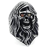 Daesar Stainless Steel Rings Mens CZ Rings Gothic Tribal Skull Rings for Men Red Rhinestone Ring