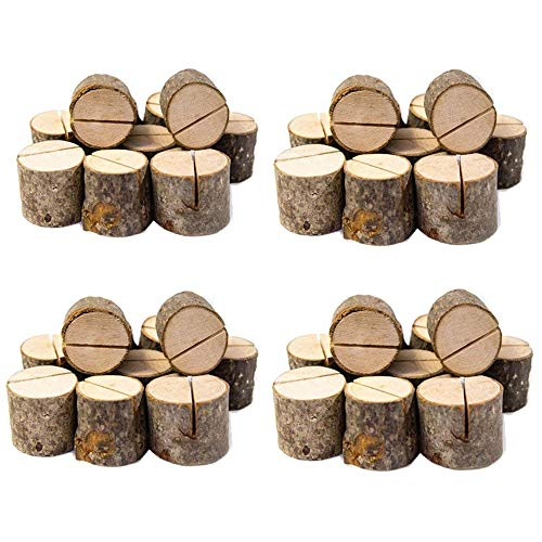 Senover Rustic Wood Table Numbers Holder Wood Place Card Holder Party Wedding Table Name Card Holder Memo Note Card -