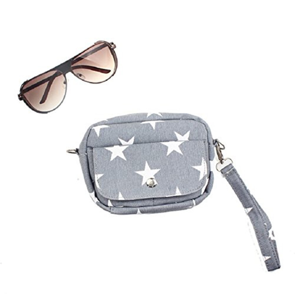 Tinksky Mini Cross Body Bag Canvas Messenger Cross Handbag Purse Grey