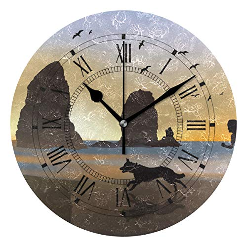 Jojogood Border Collie Wall Clock Silent Non Ticking Clock,Battery-Powered with Quartz Movement for Living Room Bedroom Home Decoration