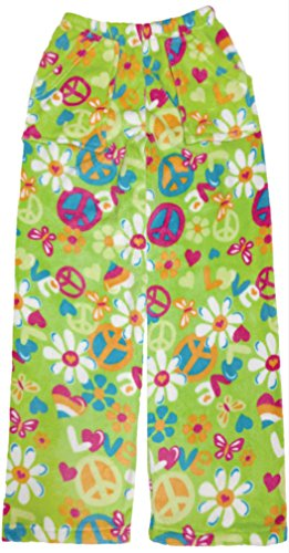 iscream Big Girls Heavyweight Plush Pants - Peace in Bloom, - Pant Fleece Peace