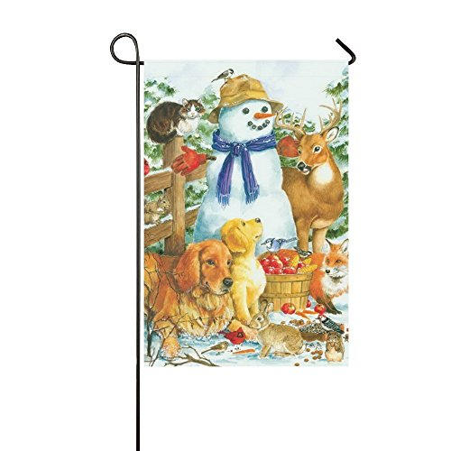 Baocnber Holiday Decor Outdoor House Flag- Christmas Animals Snowman Cat Dog 12.5x18 Inch Double Sided Garden Flag (Holiday Snowman Cat)