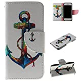 iPhone 5/5S 5SE Case, Kmety Anchor PU Leather Wallet Type Magnet Design Flip Case Cover Credit Card Holder Pouch Case for Apple iPhone 5S/SE/5G