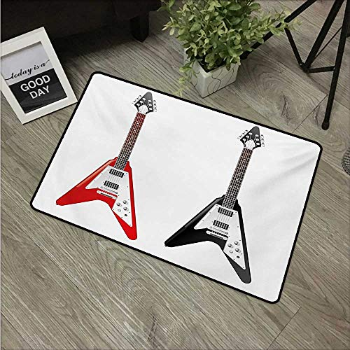 Guitar,Floor Rug Carpet Musical Instrument with V Shaped Design Famous Rock and Roll Strings Creativity W 16