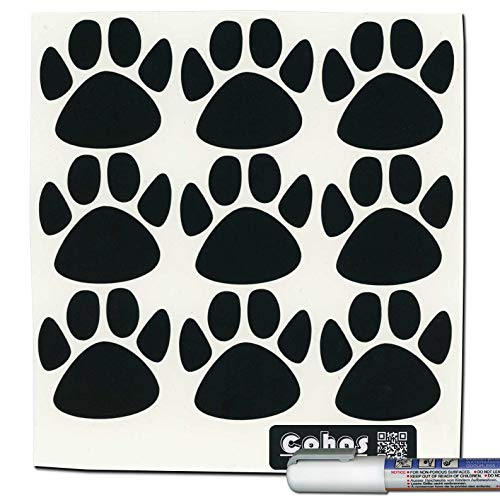 Stick Sml Animal - Cohas Chalkboard Labels in Small Paw Print Shape Includes Liquid Chalk Marker and 27 Labels, Fine Tip, White Marker
