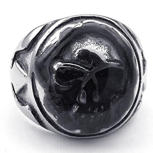 K Mega Bijoux Acier Inoxydable Crâne Band Motard Hommes Anneau, Couleur Noir Argent Avec un sac-cadeau