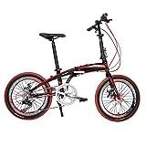 Rchibit RT20 Aluminum Frame Red Mini Folding Bike Shimano 7 Speeds City Sports Folding Bicycle Mechanical Brakes
