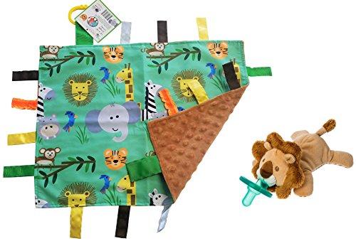 Lovey Baby Tag Minky Dot Blanket Bundle with Wubbanub Pacifier (Jungle Safari - Safari Hut