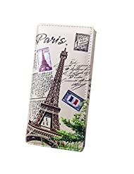 ABC® Hot Sale Fashion Women Long Wallet Smooth PU leather Paris Flags Eiffel Tower Style Lady Coin Purses Clutch Wallets Money Bags