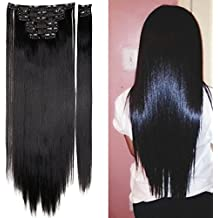 S-noilite® 23 Inches Long Straight 8 Pieces Full Head Clip in Hair Extensions(dark Black)
